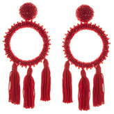 Oscar de la Renta Large Beaded Circle Tassel Clip-On Earrings