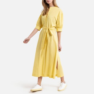 La Redoute Collections Midaxi Shirt Dress in Striped Cotton Mix with Elbow-Length Sleeves