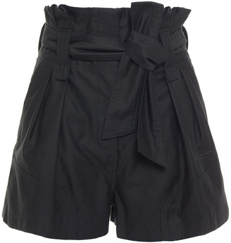 IRO Belted Pleated Cotton-gabardine Shorts