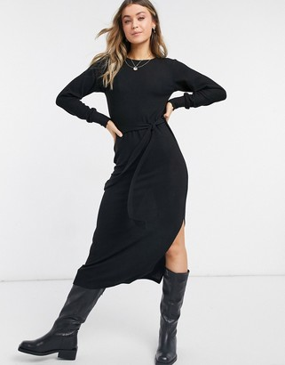 Topshop knitted midi dress in black
