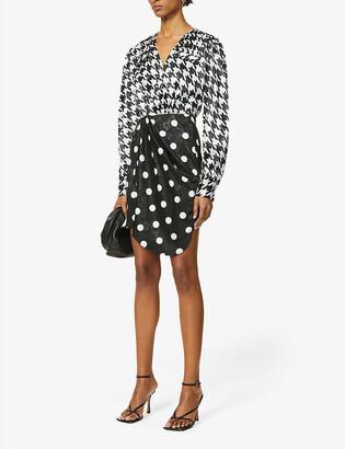 ART DEALER Contrast print satin-crepe mini dress