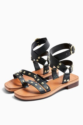 Topshop PILOT Black Leather Stud Sandals