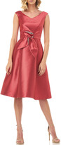 Kay Unger New York Chloe V-Neck Lola Twill Jacquard Dress w/ 3D Flower
