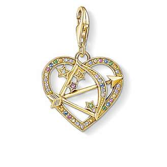 Thomas Sabo Women Charm Pendant Cupid?s Arrow, Gold 925 Sterling Silver, 18k Yellow Gold Plating 1821-996-7