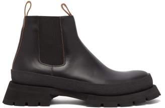 Jil Sander Leather Tread Sole Chelsea Boots - Mens - Black
