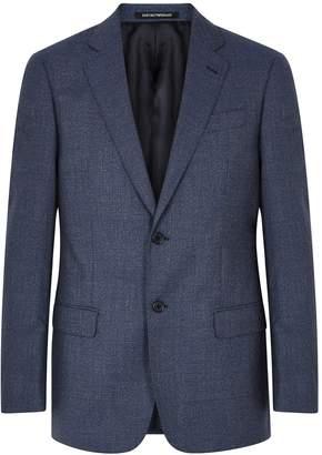 Emporio Armani Navy Woven Wool Blazer