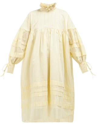 Cecilie Bahnsen - Beate Striped Cotton-blend Georgette Dress - Womens - Yellow White