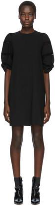 See by Chloe Black Crepe Puff Shoulder Dress