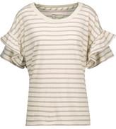 Current/Elliott The Ruffle Roadie Striped Cotton-Blend Jersey Top