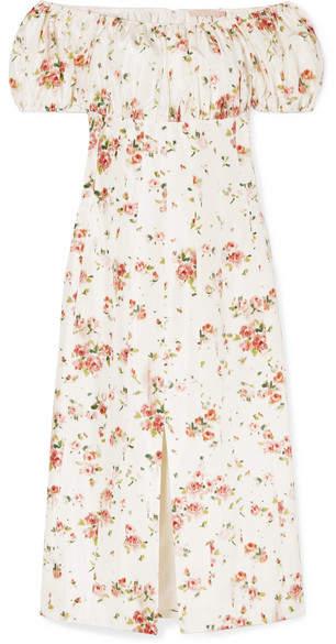 Brock Collection Dayna Floral-print Silk-satin Midi Dress - Cream