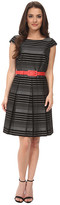 Tahari by Arthur S. Levine Petite Stripe Fit and Flare with Grosgrain Belt