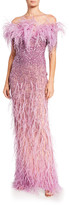 Pamella Roland Crystal Off-the-Shoulder Gown with Feather Trim