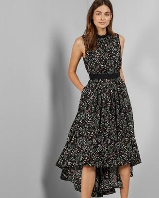 Ted Baker Hazel Print Dip Hem Midi Dress