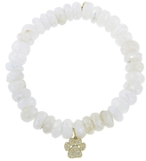 Sydney Evan Animal Paw Charm On Mystic White Moonstone Beaded Bracelet