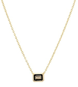 Argentovivo Small Baguette Pendant Necklace in 18K Gold-Plated Sterling Silver, 16-18