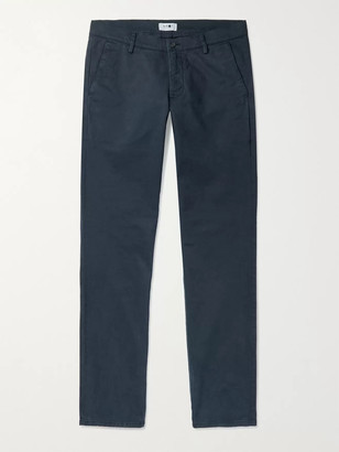 NN07 Joe Slim-Fit Tapered Stretch-Cotton Chinos - Men - Blue