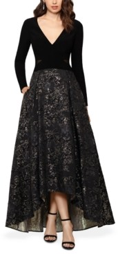 Xscape Evenings High-Low Brocade Ball Gown
