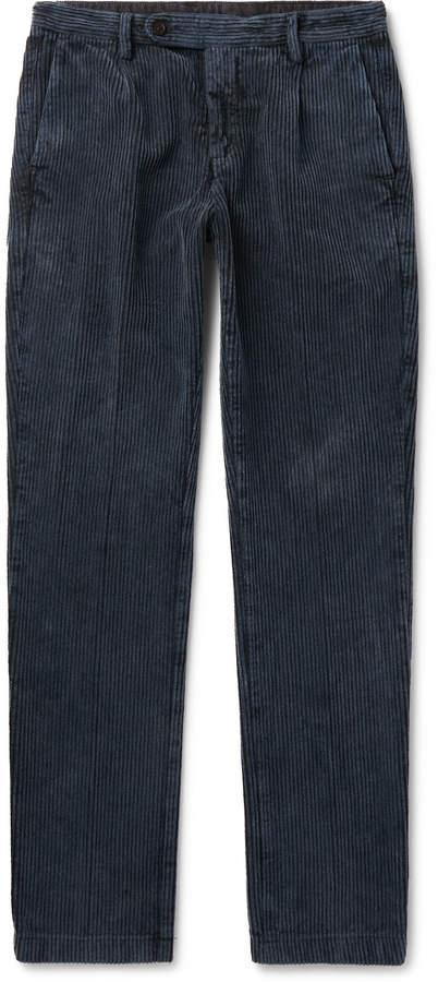 Massimo Alba Navy Tapered Cotton-Corduroy Trousers