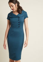 ModCloth Radiantly Retro Midi Sheath Dress in Ocean in L
