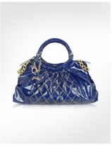 Blue Quilted Patent Leather Large Satchel Bag