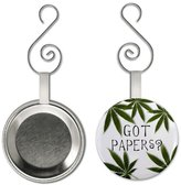 GOT PAPERS Pot Leaf 2.25 inch Button Style Christmas Ornament