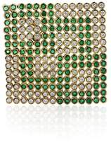 14K Yellow Gold 2ct Diamond and Emerald Flag Pin Brooch