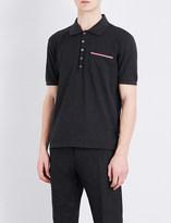 Thom Browne Stripe-detailed cotton-piqué polo shirt