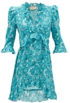 Adriana Degreas Ruffled Floral-print Silk Mini Dress - Womens - Blue Print