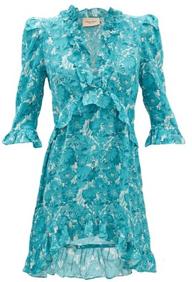 Adriana Degreas Ruffled Floral-print Silk Mini Dress - Blue Print