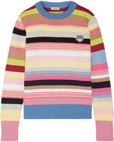 Kenzo Appliquéd Striped Cotton-blend Sweater - Pink