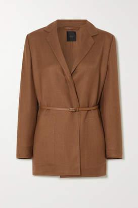 Agnona Eternals Belted Cashmere And Silk-blend Twill Wrap Blazer - Brown