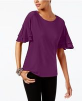 INC International Concepts Ruffled-Sleeve Top, Created for Macy's