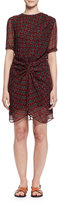 Isabel Marant Barden Twist-Front Silk Polka-Dot Dress, Burgundy