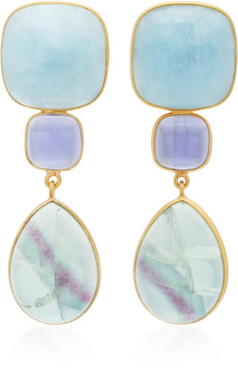 Bahina 18K Gold, Lolith and Fluorite Earrings
