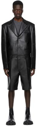 we11done Black Faux-Leather Jumpsuit