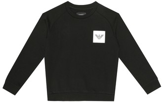 Emporio Armani Kids Logo cotton-blend sweatshirt
