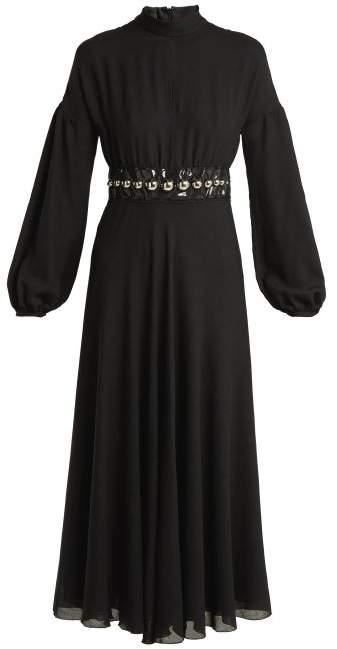 Giambattista Valli Bead Embellished Wool Blend Maxi Dress - Womens - Black