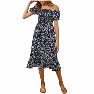 Moent Women Clothes Moent Women Casual Floral Print Off-Shoulder Short Sleeve Boho Dress