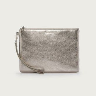 The White Company Leather Wristlet Clutch Bag, Bronze, One Size