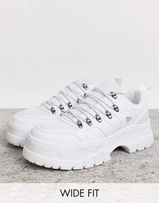 Asos Design DESIGN Wide Fit trainers in white with hiker details and chunky sole