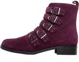 Karen Millen Womens Bronte Alice Suede Ankle Boots Burgundy