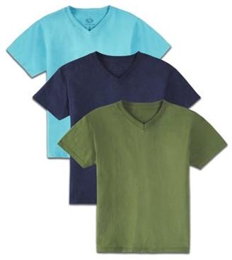 Fruit of the Loom Boys 4-18 Soft Short Sleeve V-Neck T Shirts, Multi-Color 3 Pack