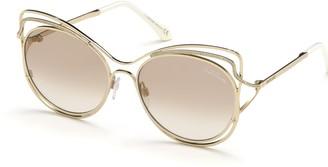 Roberto Cavalli 55mm Cat Eye Metal Frame Sunglasses