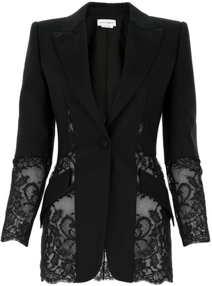 Alexander McQueen Lace-Detailed Blazer