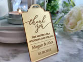 Etsy Wedding Thank You Cards Luxury Thank You Gift Tags Engraved Personalised Names Save the Date Custom