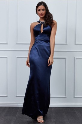Goddiva Vicky Pattison Navy Halter Neck Buckle Maxi Dress