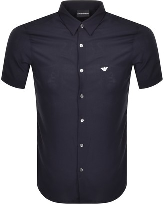 Giorgio Armani Emporio Slim Fit Short Sleeve Shirt Navy