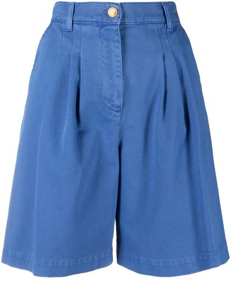 Alberta Ferretti Pleated Cotton Shorts