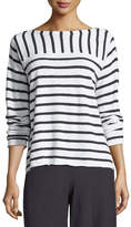 Eileen Fisher Organic Linen/Cotton Striped Top with Shoulder Buttons, Plus Size
