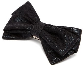 Emilia Wickstead Bow Metallic Weave Hair Clip - Black